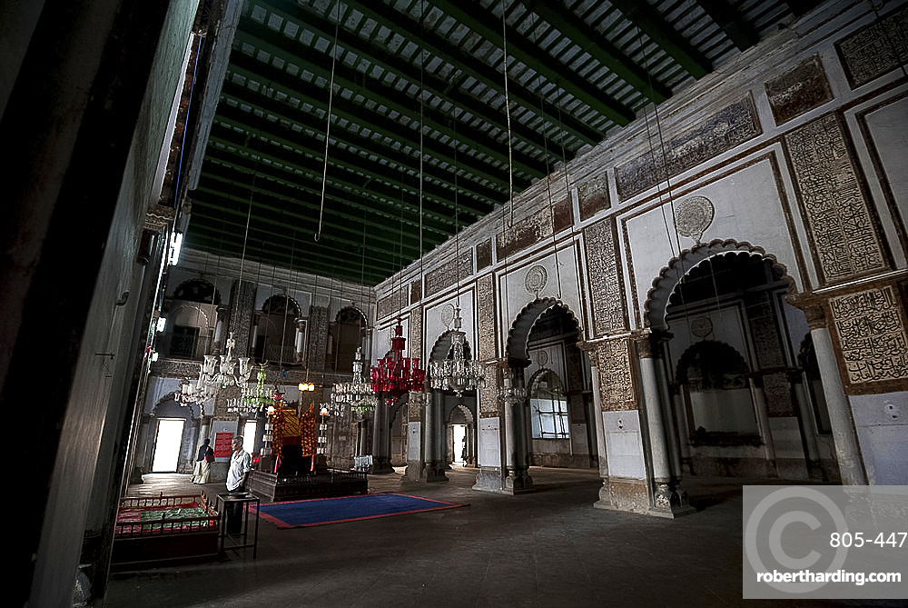 Mosque interior with holy dais and hanging glass lanterns, in the Hugli Imambara, on the bank of the Hugli river, West Bengal, India, Asia