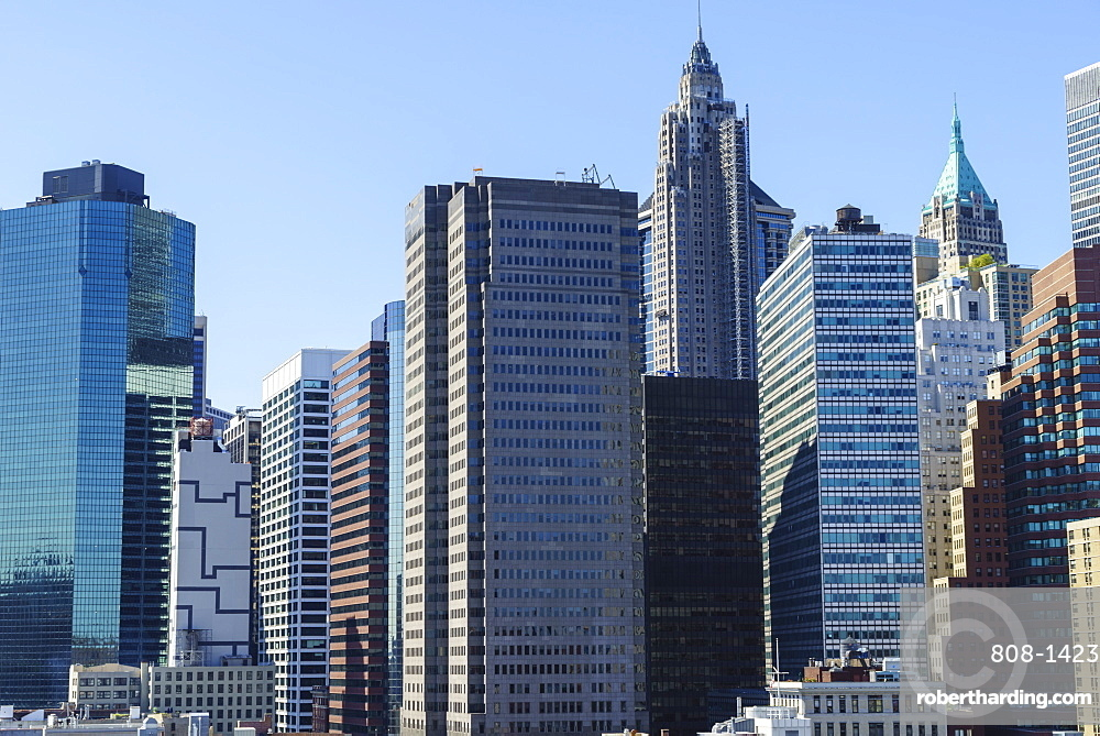 Modern skyscrapers in Lower Manhattan's Financial District, New York City, New York, United States of America, North America