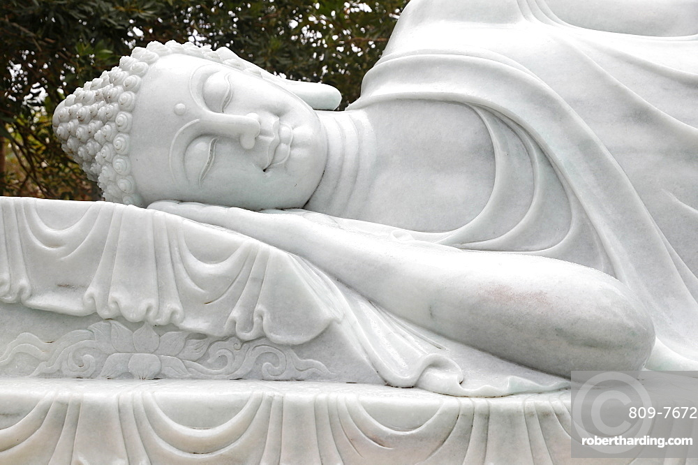 Truc Lam Phuong Nam Buddhist temple, statue of the final Nirvana, the Buddha entered into meditation and then passed away, Can Tho, Vietnam, Indochina, Southeast Asia, Asia