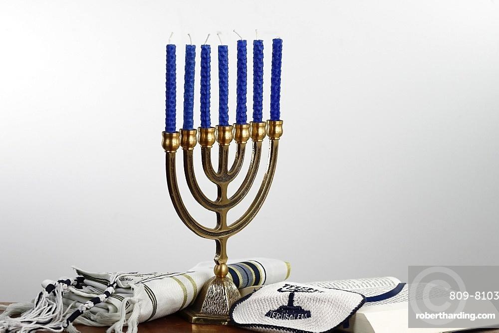 Menorah, tallit, kippah and Torah, Jewish symbols, France, Europe