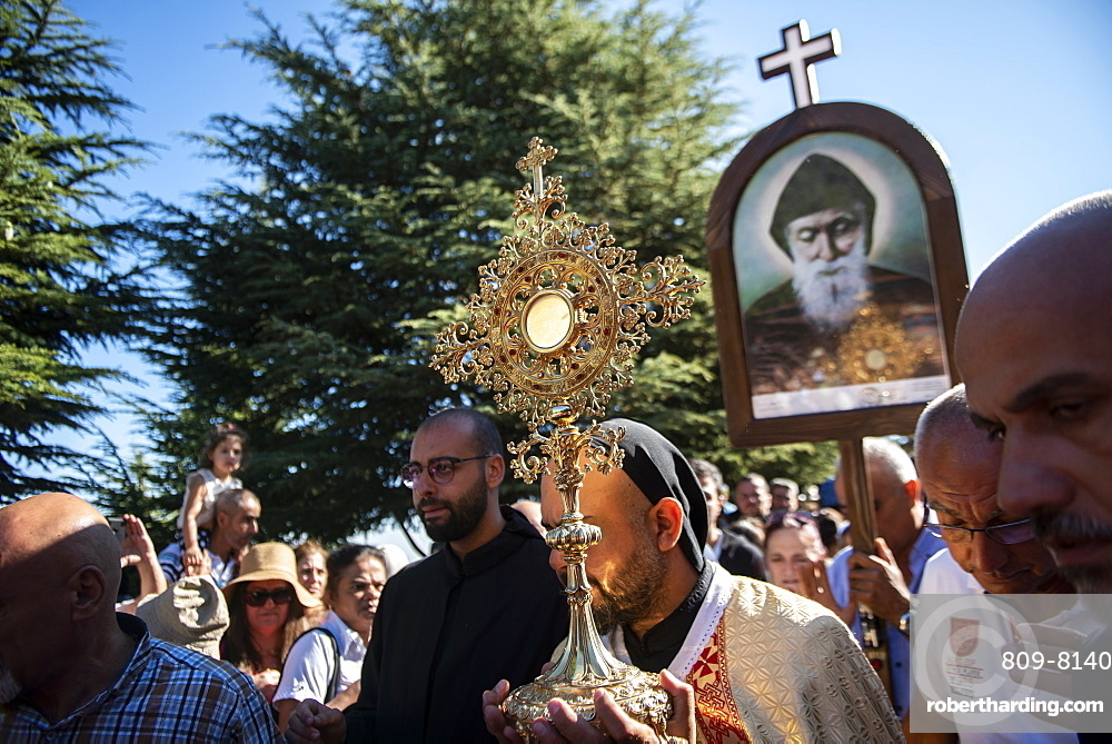 Lebanese Christians marching during a procession in the town of Annaya from the Hermitage to the Monastery of Saint Maroun, Annaya, Lebanon, Middle East