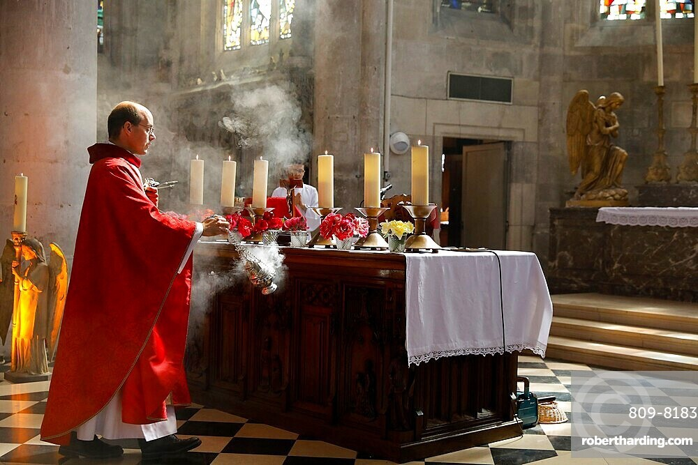 Pentecost Mass in St. Nicolas's church, Beaumont-le-Roger, Eure, France, Europe