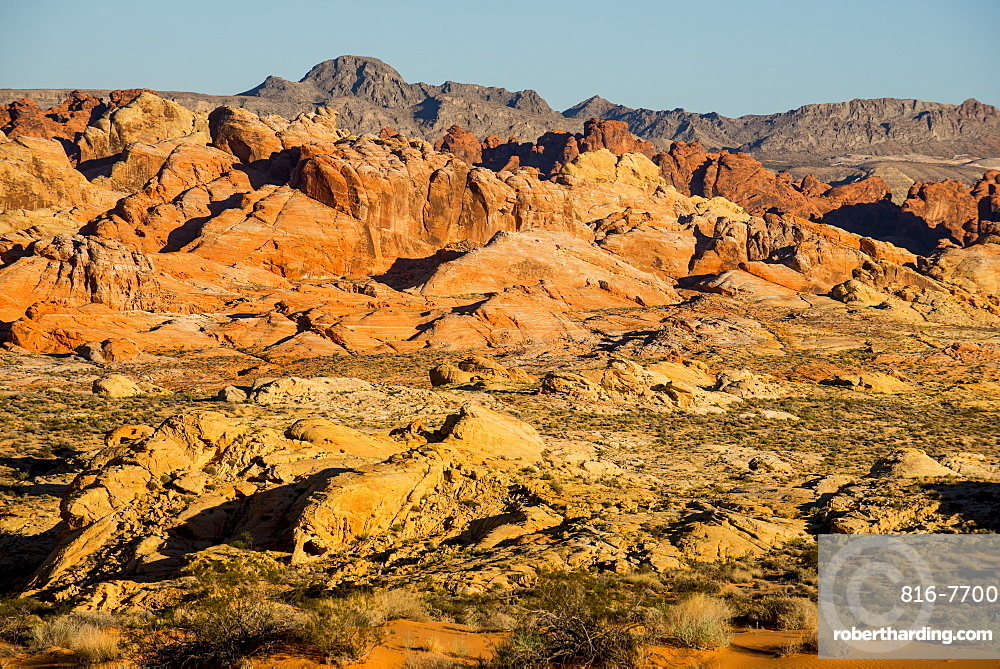 View over the redrock sandstone formations in the Valley of Fire State Park, Nevada, United States of America, North America