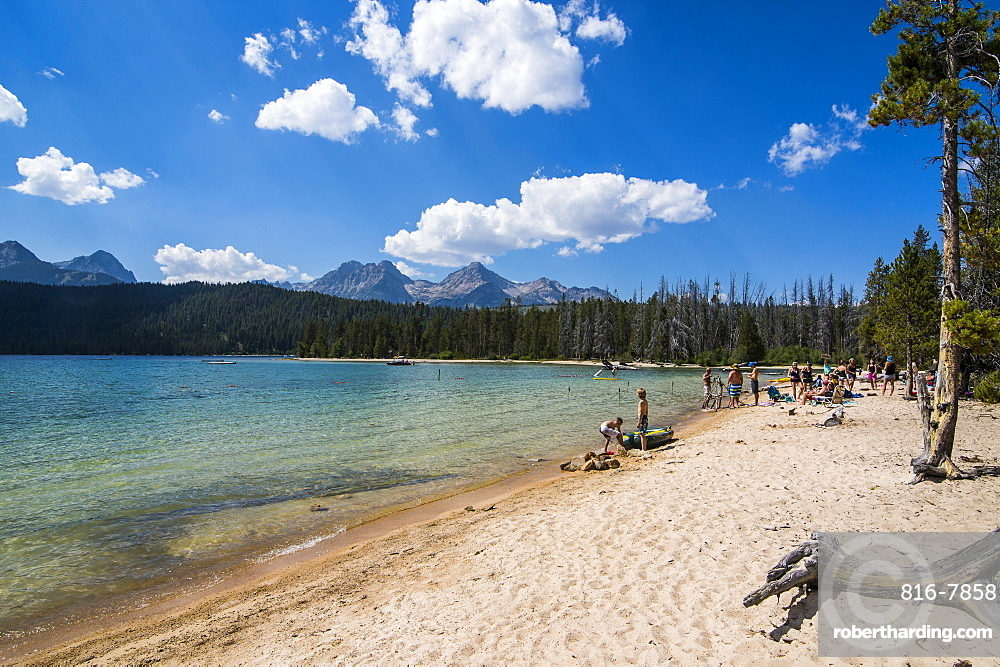 Sandy beach on Redfish Lake in a valley north of Sun Valley, Sawtooth National Forest, Idaho, United States of America, North America