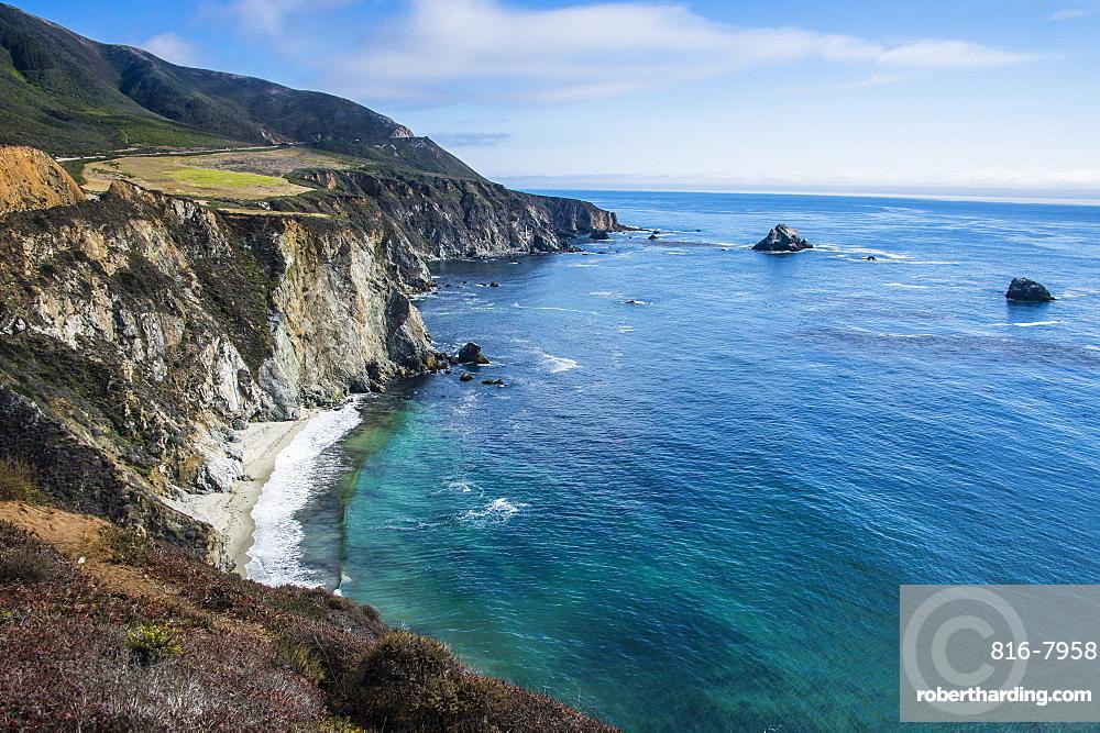 The rocky coast of the Big Sur near Bixby bridge, California, USA