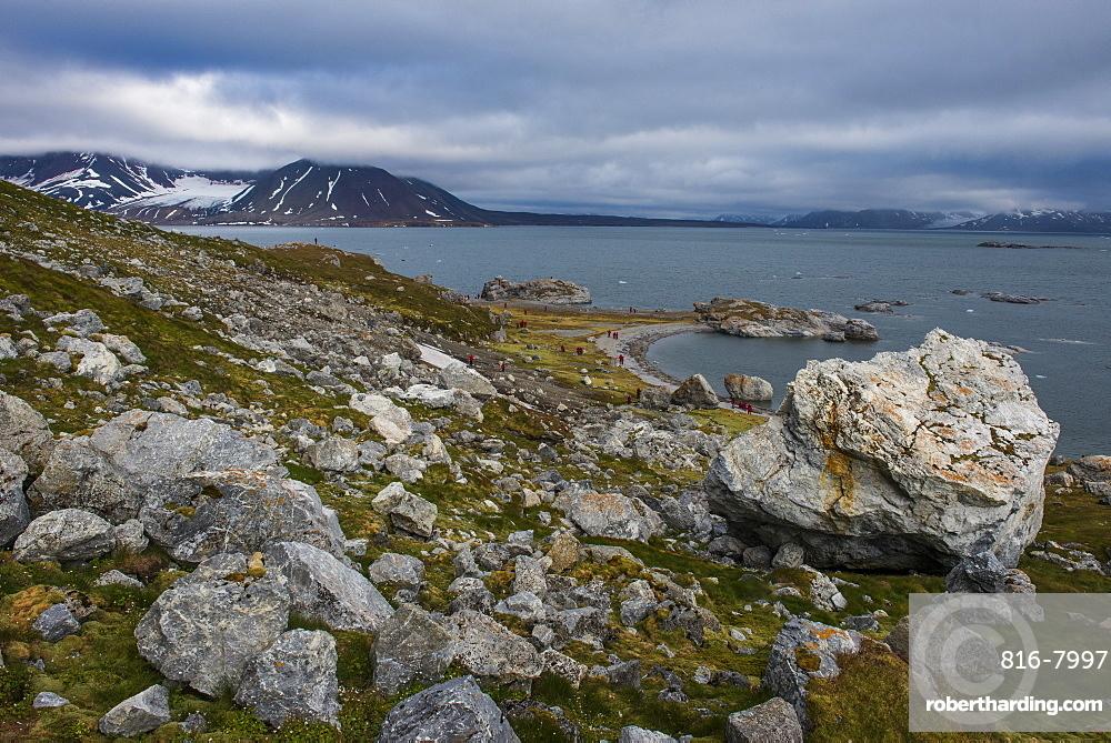 The rocky bay in Alkhornet, Svalbard, Arctic