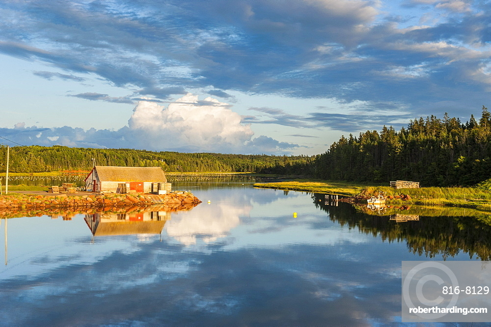Little hut on a lake at sunset on the north shore of Prince Edward Island, Canada, North America