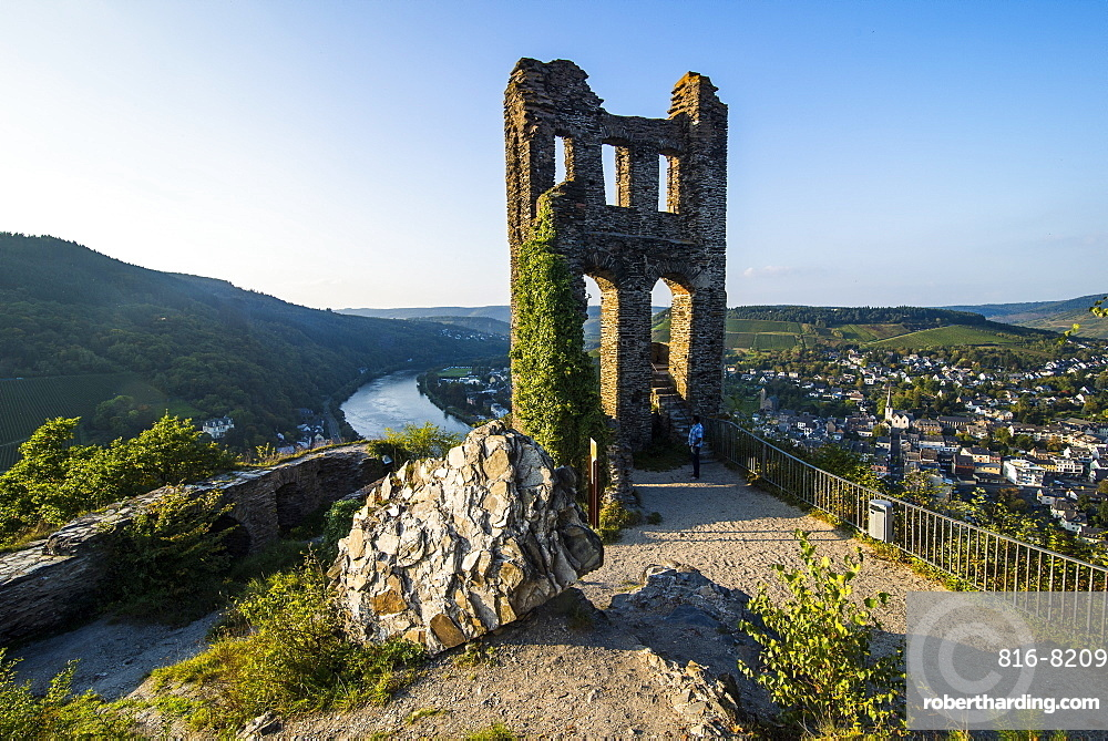 The ruins of the Grevenburg overlooking Traben-Trabach, Moselle Valley, Rhineland-Palatinate, Germany, Europe