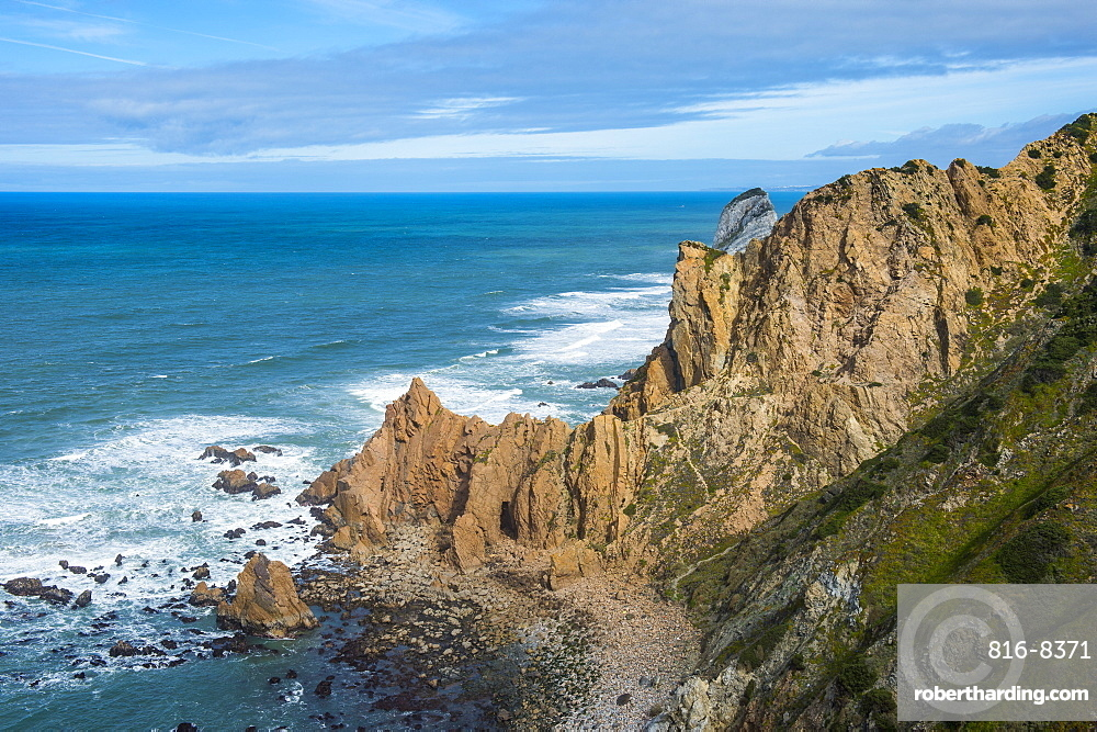 Rocky cliffs at Europe´s most western point, Cabo da Roca, Portugal, Europe