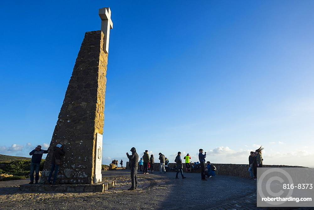 Monument at Europe's most western point, Cabo da Roca, Portugal, Europe