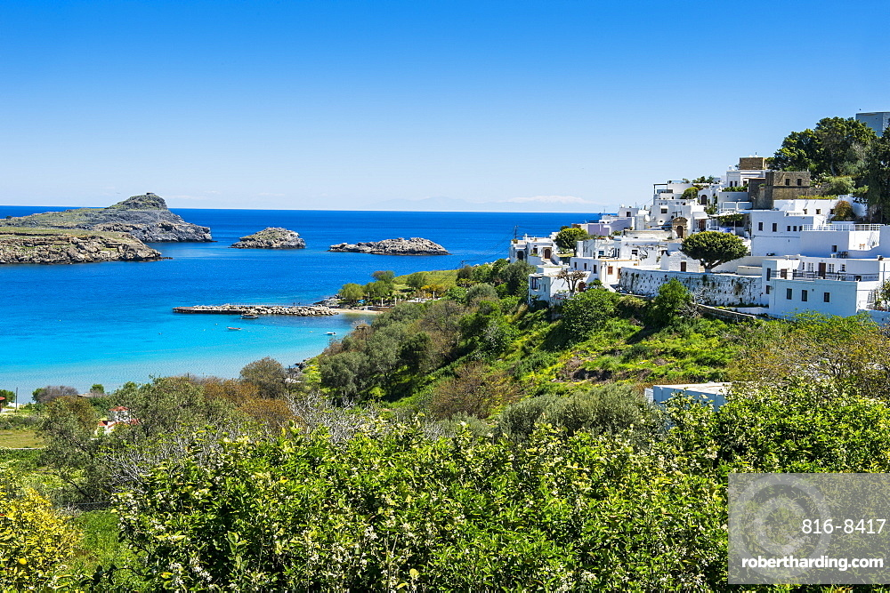 The white houses of the town of Lindos, Rhodes, Dodecanese Islands, Greek Islands, Greece, Europe