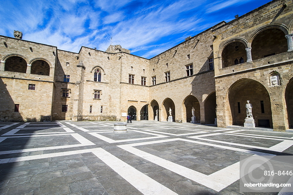Yard in the Palace of the Grand Master, the Medieval Old Town of the City of Rhodes, UNESCO World Heritage Site, Rhodes, Dodecanese Islands, Greek Islands, Greece, Europe