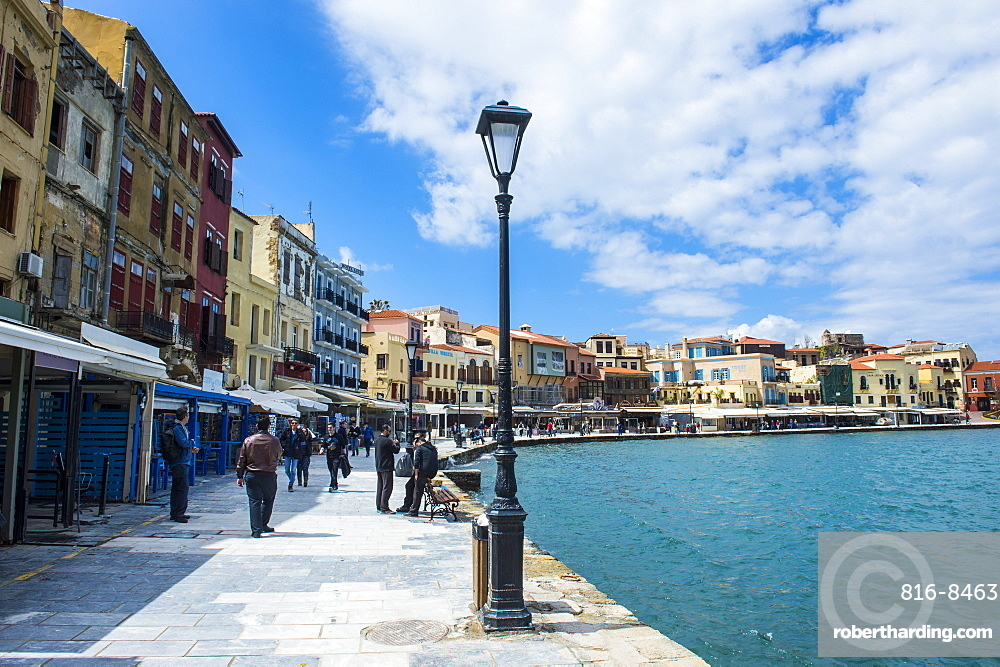 View of the Venetian port of Chania, Crete, Greek Islands, Greece, Europe