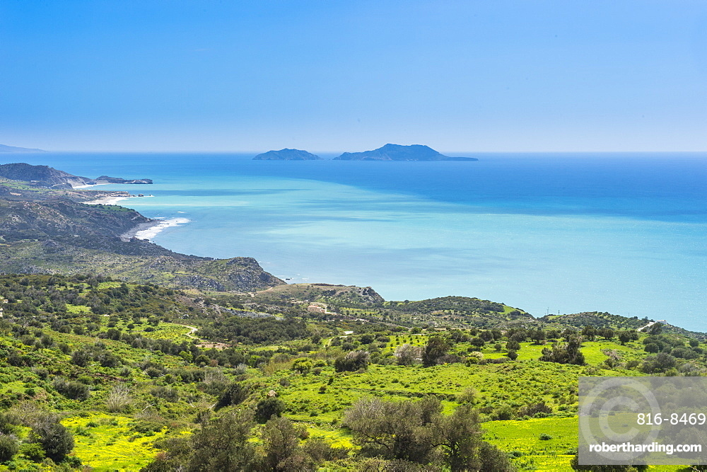 View over the south coast of Crete with its turquoise waters, Crete, Greek Islands, Greece, Europe