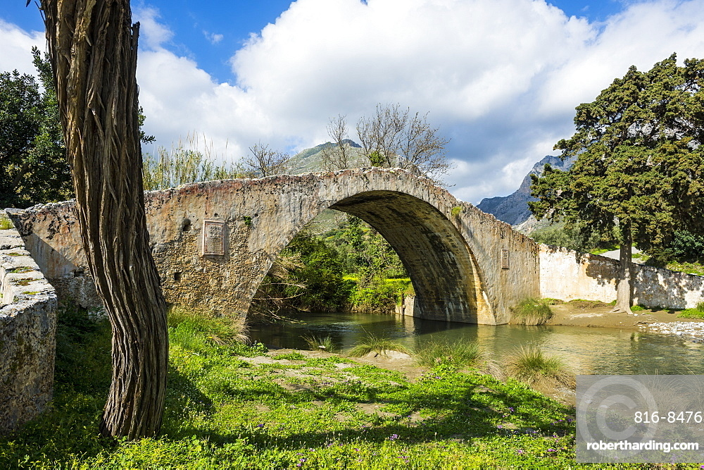 Old Roman bridge, Preveli, Crete, Greek Islands, Greece, Europe
