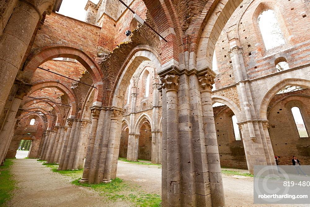 San Galgano Abbey ruins in Chiusdino, Siena, Tuscany, Italy, Europe