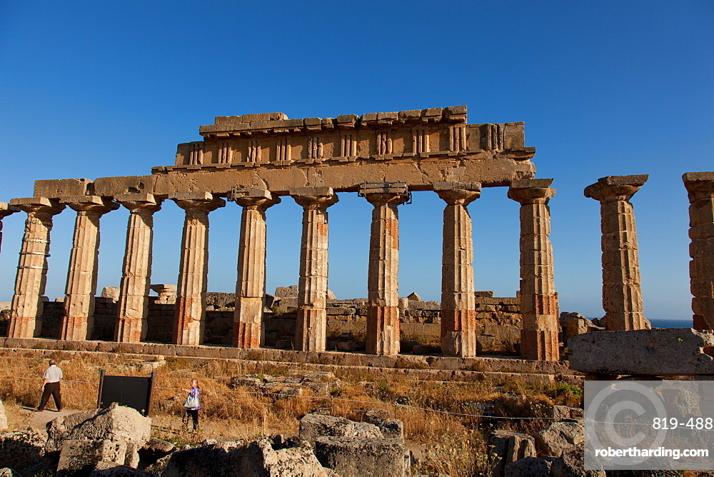 Temple C columns at the Acropolis of Selinunte, the ancient Greek city on the southern coast of Sicily, Italy, Europe