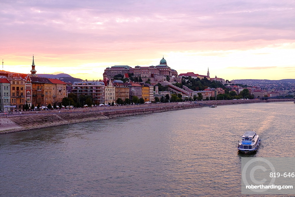 The Danube River and Buda Castle, Budapest, Hungary, Europe