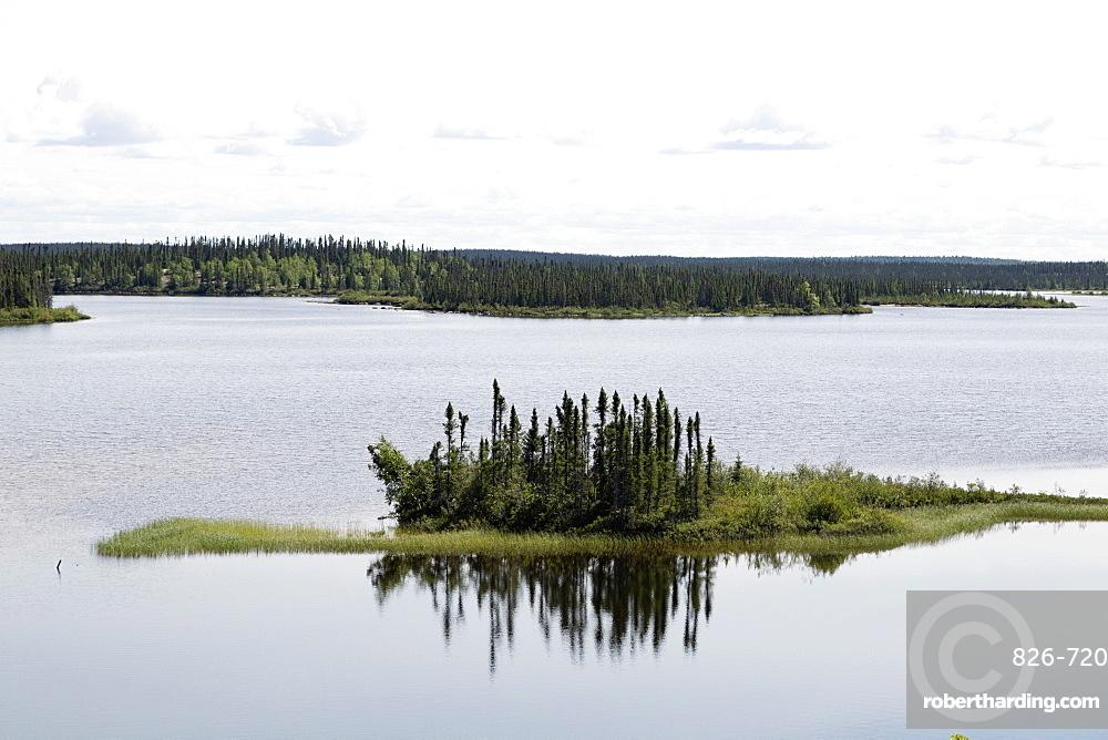 Island in Dillabough Lake in northern Manitoba, Canada, North America
