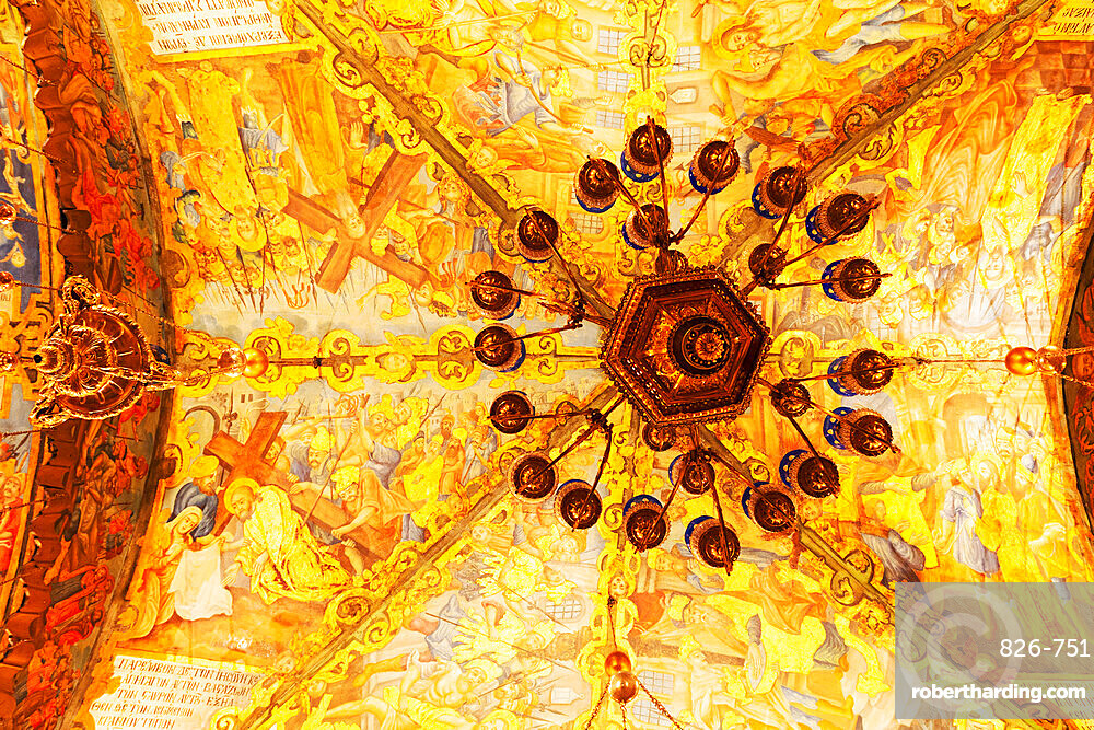 Christian artwork on the Altar of the Crucifixion's vaulted ceiling in the Church of the Holy Sepulchre in Jerusalem, Israel, Middle East