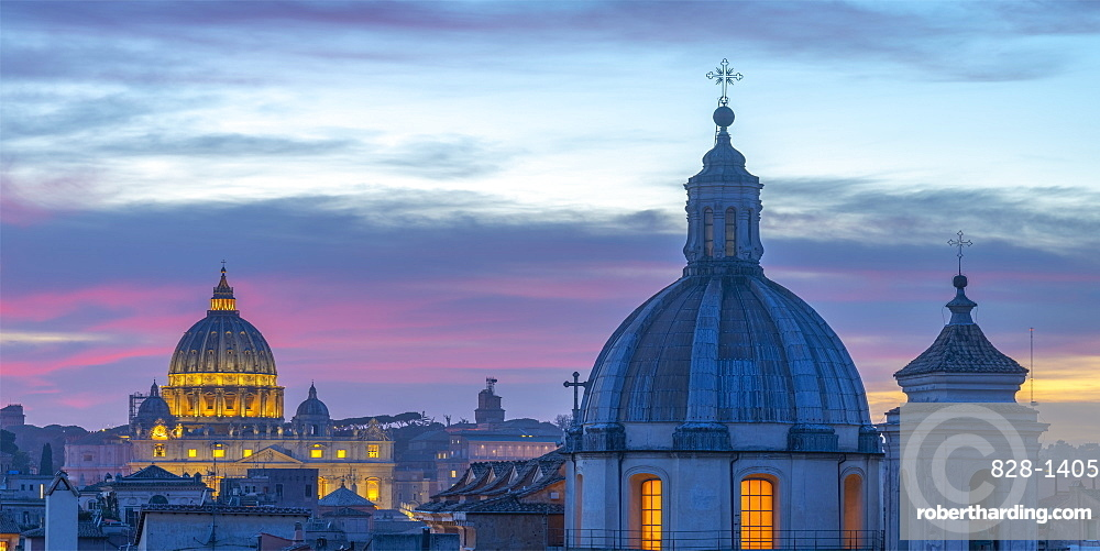 Church of San Salvatore in Lauro and St. Peter's Basilica beyond, Ponte, Rome, Lazio, Italy, Europe