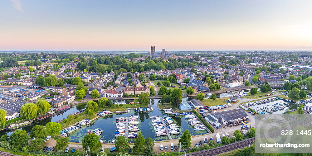 Drone view of Ely Cathedral with Ely Marina and Great Ouse River in foreground, Ely, Cambridgeshire, England, United Kingdom, Europe