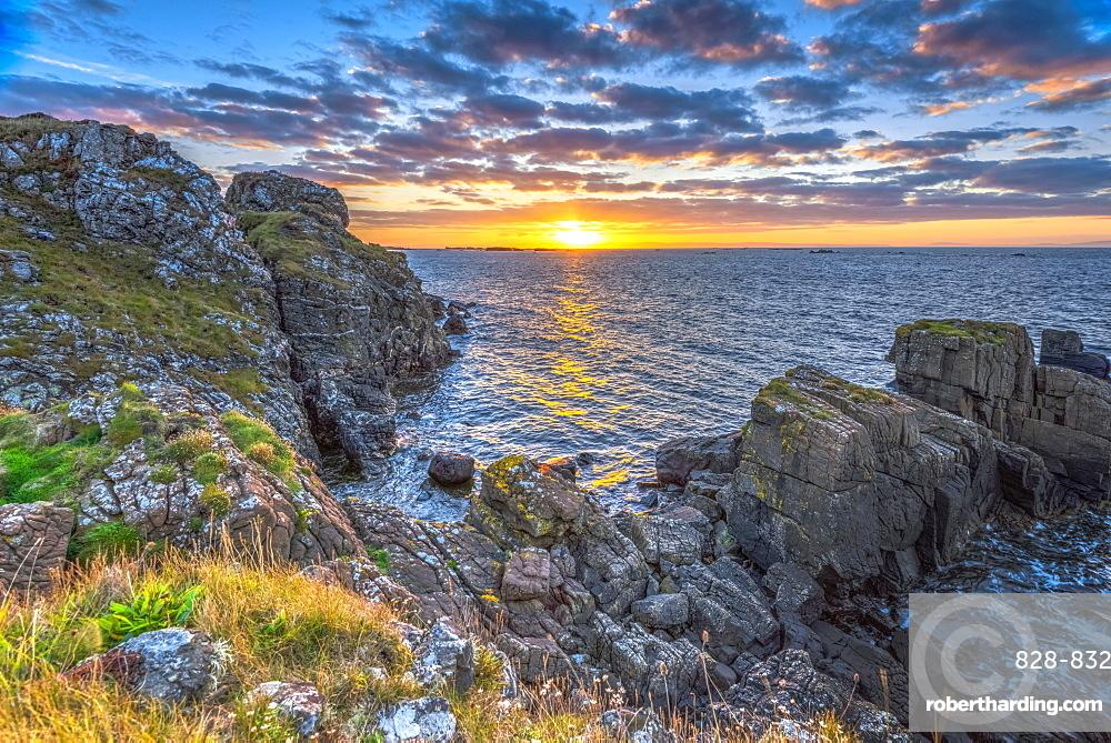 Lagavulin Bay at sunrise, Islay, Argyll and Bute, Scotland, United Kingdom, Europe