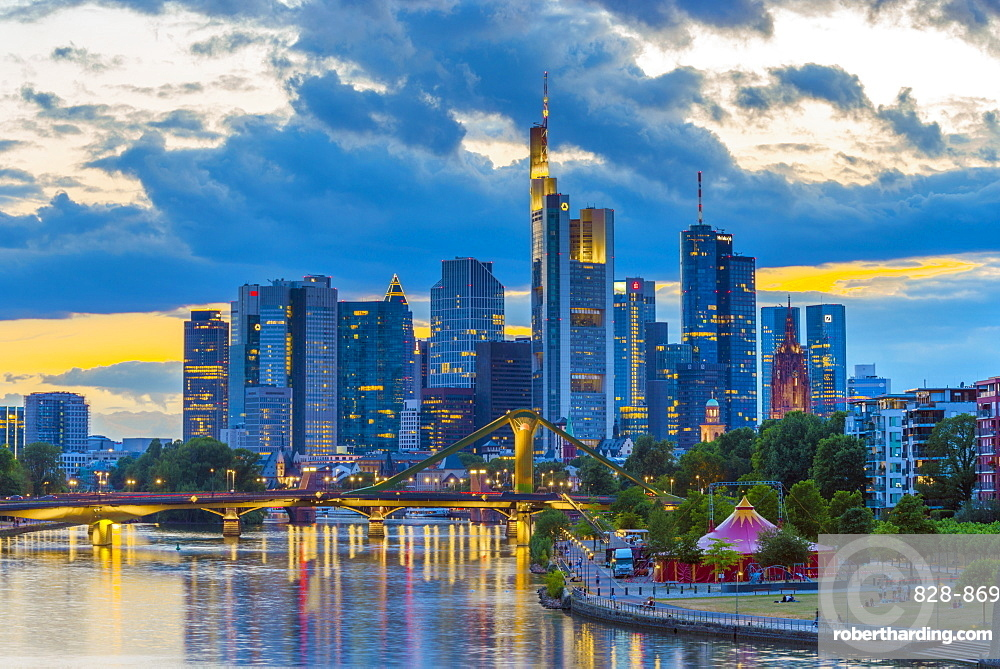 City skyline and River Main, Frankfurt am Main, Hesse, Germany, Europe