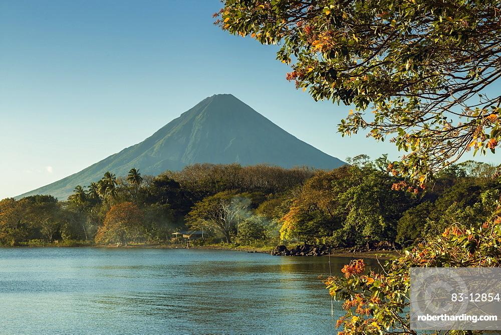 Active Concepcion Volcano seen from Merida in the island's Southeast, Merida, Volcan Maderas, Omotepe Island, Lake Nicaragua, Nicaragua, Central America