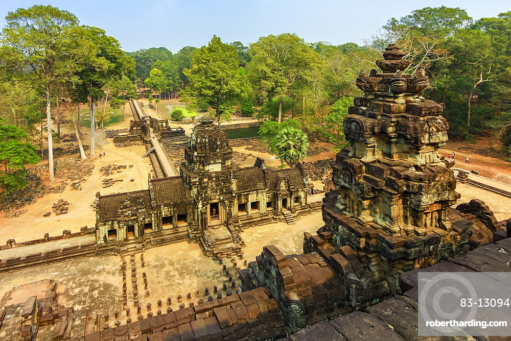 View east from upper terrace of restored 11th century Baphuon pyramid temple in Angkor Thom walled city, Angkor, UNESCO World Heritage Site, Siem Reap, Cambodia, Indochina, Southeast Asia, Asia