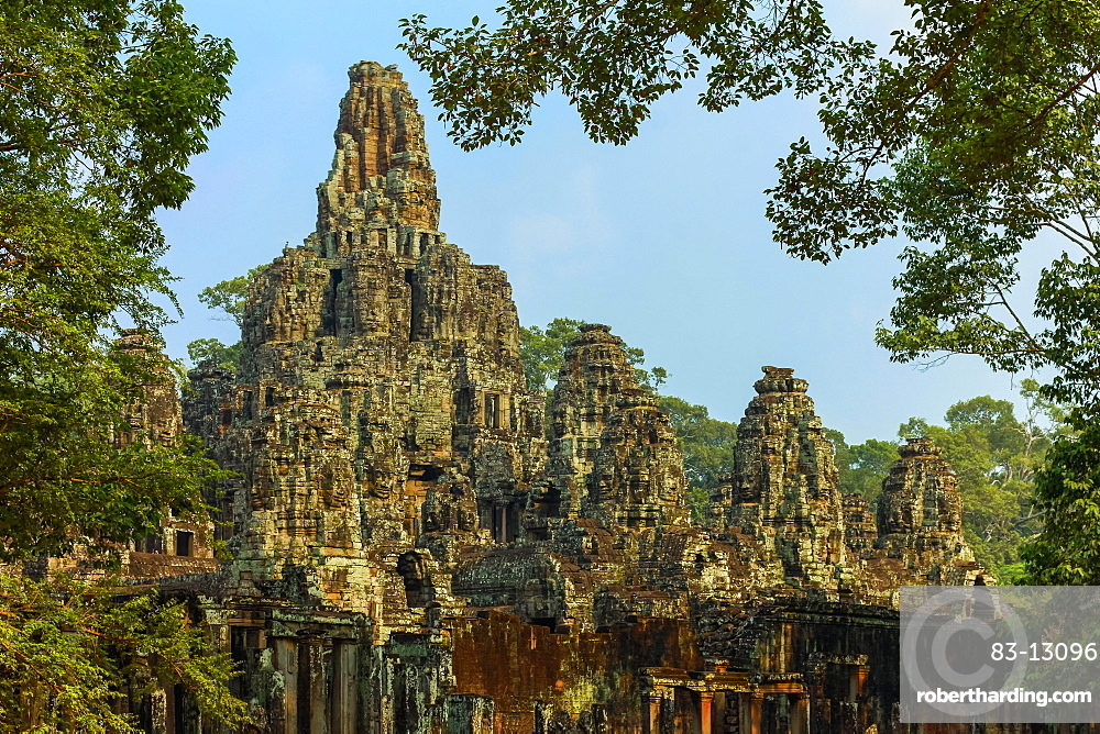 Towers of the famous Bayon, last temple built by King Jayavarman VII in Angkor Thom walled city, Angkor, UNESCO World Heritage Site, Siem Reap, Cambodia, Indochina, Southeast Asia, Asia