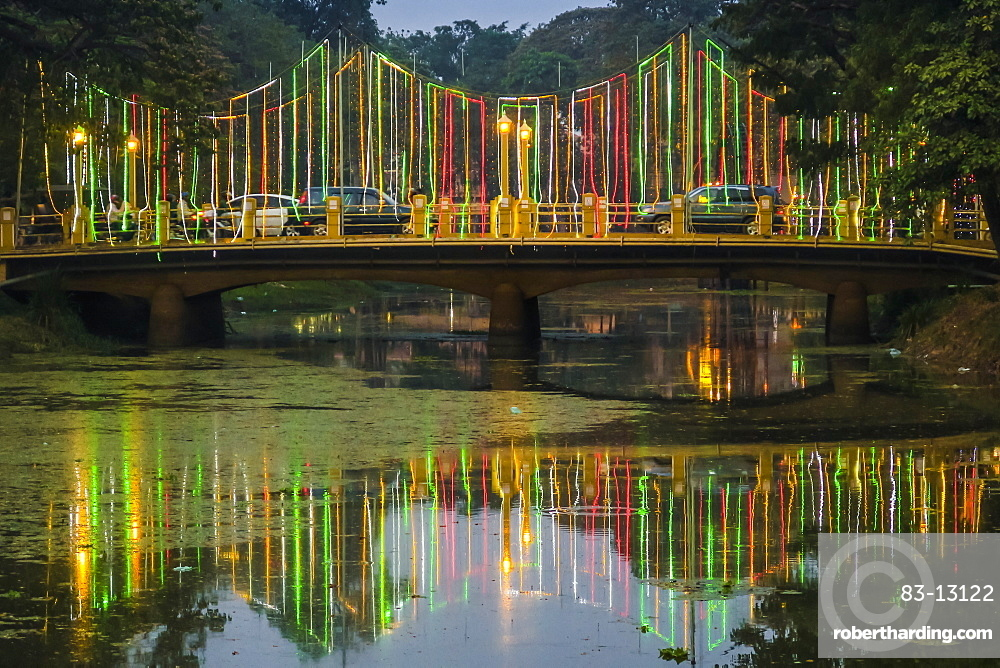 Lights and illuminated bridge on the Siem Reap River by the Art Center Night Market in this NW tourist town, Siem Reap, Cambodia, Indochina, Southeast Asia, Asia