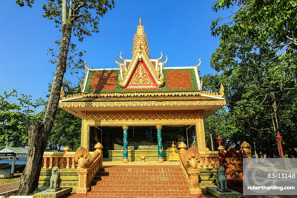 Sleeping Buddha pavilion at Wat Traeuy Kaoh temple on Fish Island across the river from this old colonial port, Kampot, Cambodia, Indochina, Southeast Asia, Asia
