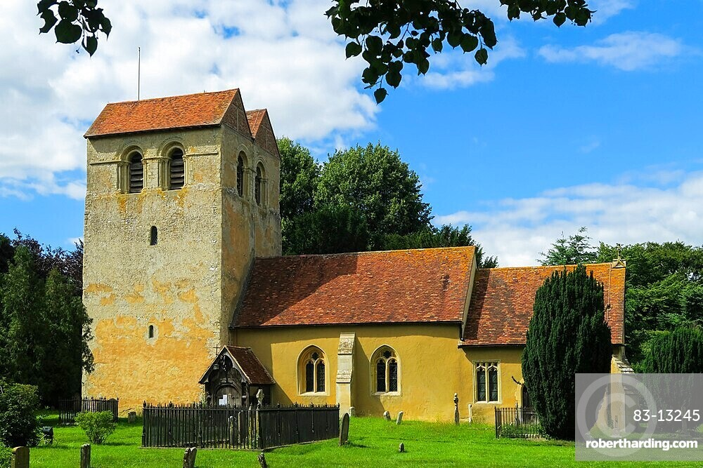 St Bartholomew's church with it's famous 12thC Norman Tower at Fingest in the Hambleden Valley; Fingest, Buckinghamshire, UK