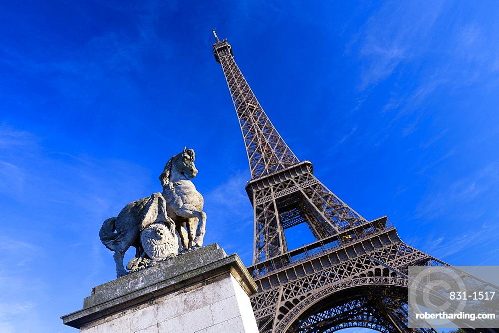 Horse sculpture on Lena Bridge near to Eiffel Tower in Paris, France, Europe