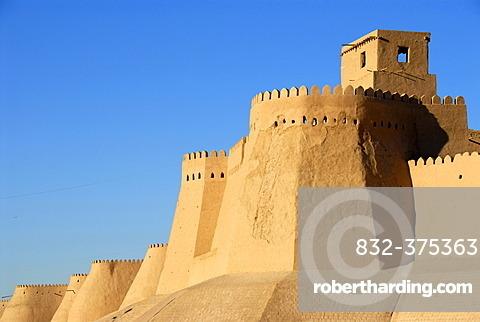 High walls with battlement Ko\'xna Ark fortress old town Khiva Uzbekistan