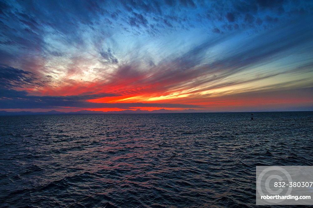Sunset, ripples in ocean, Red Sea, Egypt, Africa