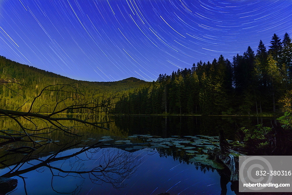 Großer Arbersee, night shot with moving stars and moonlight, Bavarian Forest National Park, Bavaria, Germany,, Europe