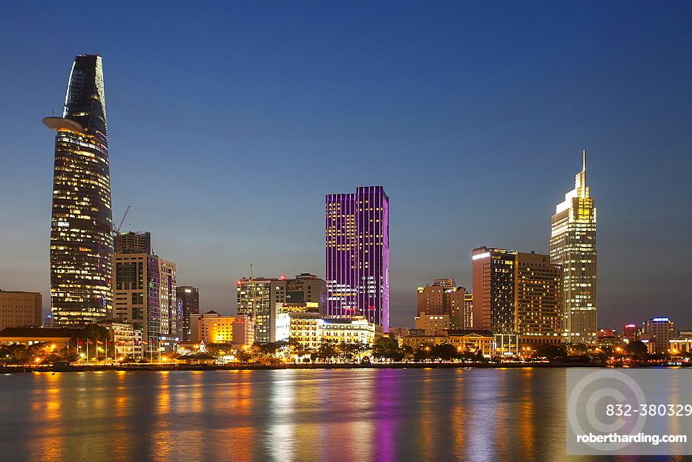 Skyline Saigon, downtown with Bitexo Tower, District 1, Dusk, Ho Chi Minh City, Vietnam, Asia