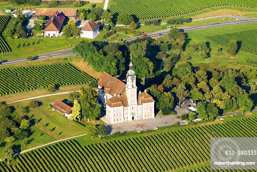 Aerial view of Birnau Pilgrimage Church, Uhldingen Muhlhofen, Baden-Württemberg, Germany, Europe