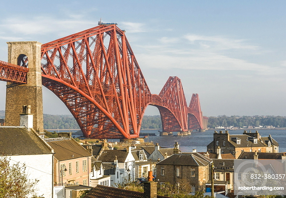 North Queensferry with Forth Bridge across the Firth of Forth, Scotland, United Kingdom, Europe