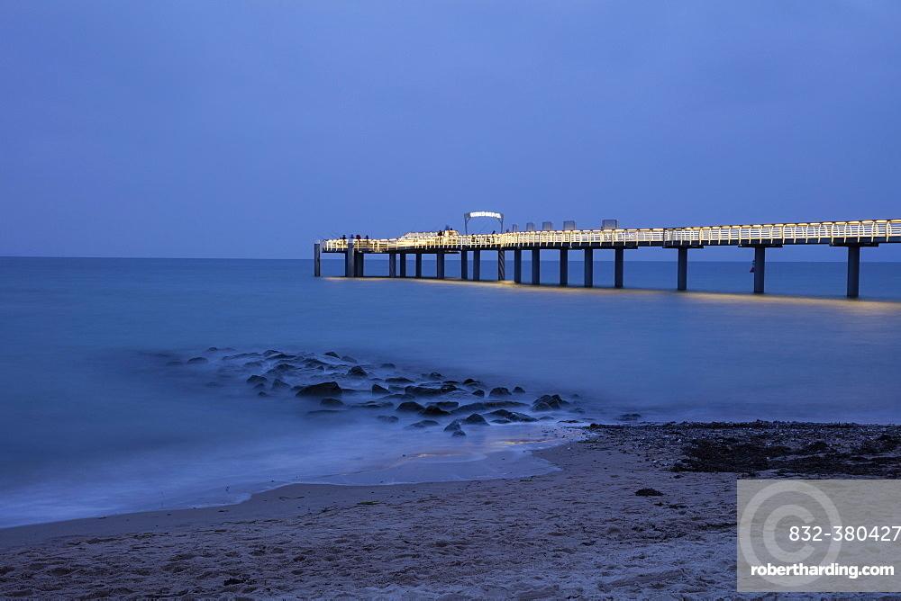 Illuminated pier, Niendorf, Baltic Sea, Timmendorfer Strand, Lübeck Bay, Schleswig-Holstein, Germany, Europe