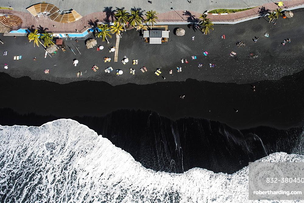 Surf, bathing people on black lava beach, Puerto Naos, La Palma, Canary Islands, Spain, Europe