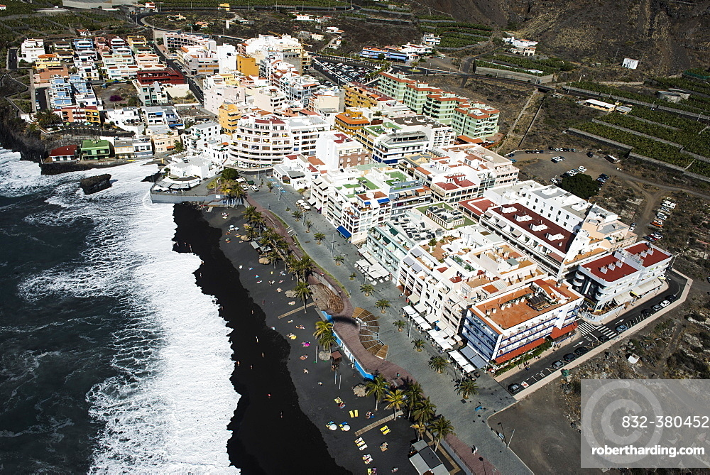 Surf on black lava beach, boardwalk, Puerto Naos, La Palma, Canary Islands, Spain, Europe