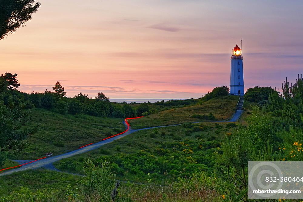 Lighthouse Dornbush on the Schluckwieksberg, landmark of Hiddensee, Western Pomerania Lagoon Area National Park, Baltic Sea, Hiddensee, Mecklenburg-Vorpommern, Germany, Europe