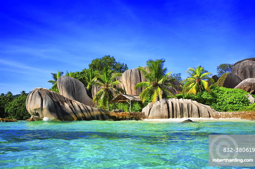 Beach Source d'Argent with granite rocks, La Digue, Indian Ocean, Seychelles, Africa