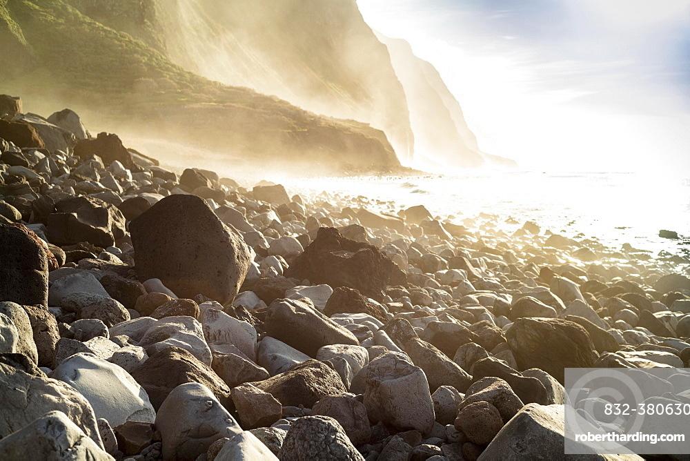 Stony coast, cliffs, Atlantic Ocean, Madeira