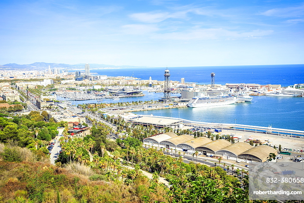Cityview with harbour, viewed from Castle hill, Barcelona, Catalonia, Spain, Europe