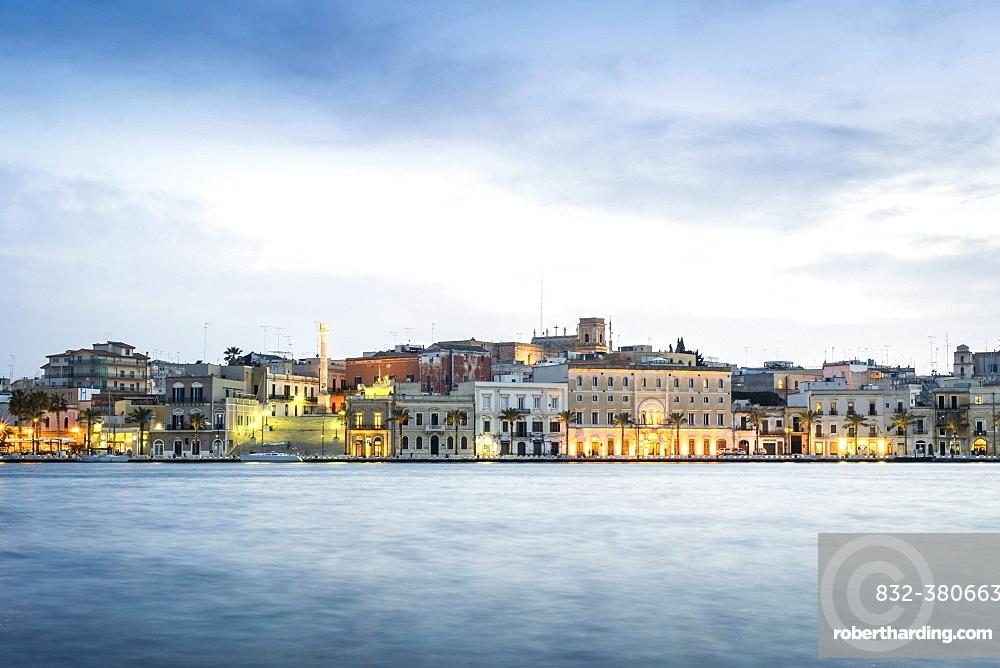 City view at dusk, Brindisi, Puglia, Italy, Europe