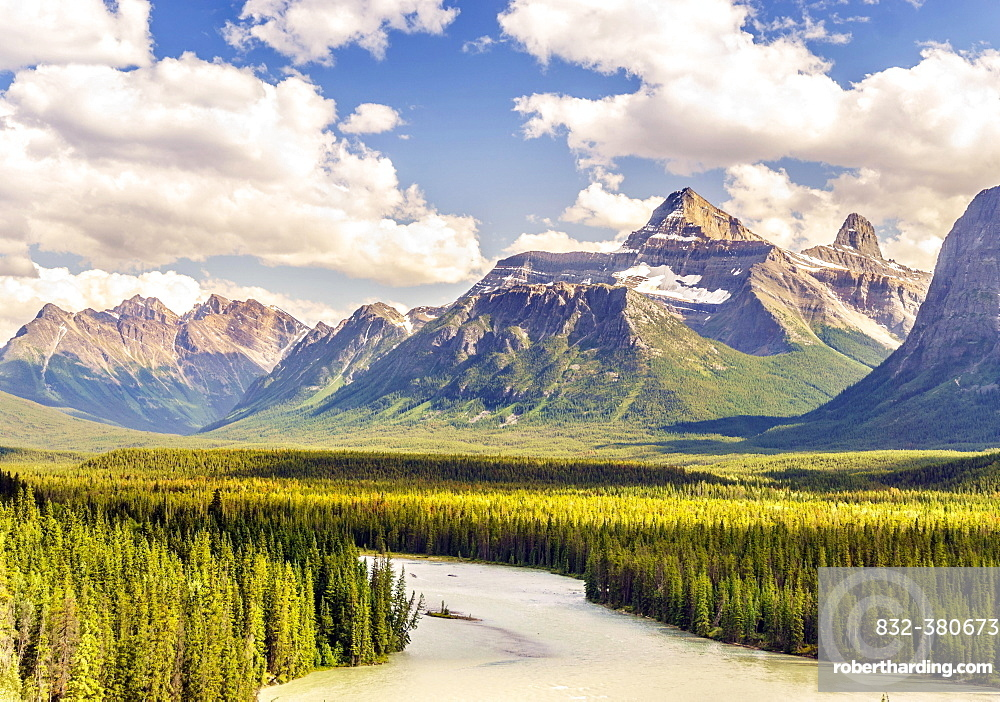 Landscape of Rockies mountain and Athabasca river, Jasper National Park, Alberta, Canada, North America